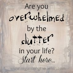 Are you overwhelmed by the clutter in your life? Start here...   OrganizingMadeFun.com