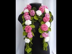 Rose Crocheted scarf rose branch festive accessories gift for women flower necklace color choices Lo Crochet Flower Scarf, Crochet Flower Patterns, Freeform Crochet, Crochet Scarves, Crochet Shawl, Diy Crochet, Crochet Doilies, Crochet Flowers, Crochet Stitches