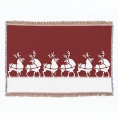 Christmas Blanket Holiday Reindeer Throw Blankets by artist_kim_hunter