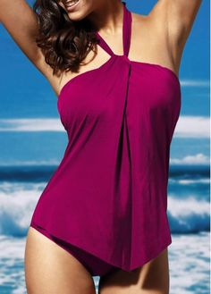 Halter Neck Solid Purple One Piece Swimwear