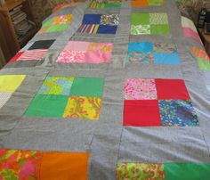 vintage quilt top 1960s funky by fabriquefantastique on Etsy, $30.00
