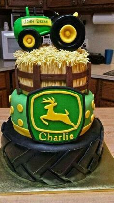 We've collected 19 of our favorite John Deere tractor birthday party ideas Included in this round up are a pin-the-tires on the tractor party game, adorable party supplies, DIY John Deere burlap favor bags and Baby Cakes, Cupcake Cakes, Cake Fondant, Food Cakes, Decoration Patisserie, Farm Cake, Farm Birthday, Birthday Ideas, Birthday Decorations