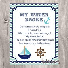 My Water Broke Baby Shower Game Printable Nautical Teal And