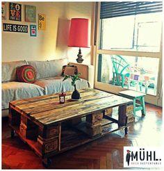 Mesa Ratona Mediana Pallet MÜHL Dimensiones: 80x120x45 Decor, Furniture, Deco, Pallet Coffee Table, Table, Home Decor, Pallet Diy, Coffee Table, Pallet Table