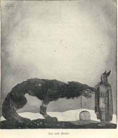 John Bauer-Tyr and Fenrir - Canis lupus - Wikimedia Commons. Artist John Bauer Link back to Creator infobox template Description Tyr and Fenrir in for Our Fathers' Godsaga by Viktor Rydberg Date 1911 (domaine public) John Bauer, Fenrir Tattoo, Asgard, Art Of Manliness, Old Norse, Norse Vikings, Fairytale Art, Viking Age, History Channel