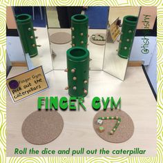 Finger Gym. Caterpillar game I found in the charity shop!!! Roll the dice and remove.