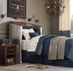 Tumble-Washed Twill & European Vintage Airplane Blueprint Bedding Collection | Bedding Collections | Restoration Hardware Baby & Child