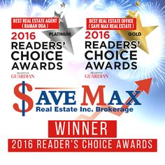 Thank you Brampton for voting us as your Favorite in the 2016 Brampton Guardian Reader's Choice Awards! This means the world to the whole team of Save Max to be chosen as the Best Real Estate Office & Raman Dua as the Best Real Estate Agent by the Brampton Guardian Readers! We can't thank you enough!! Save Max Real Estate - Google+