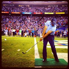 """""""The 16th hole at TPC Scottsdale has nothing on this."""" --Phil, on the experience and adrenaline felt during last night's halftime charity shot in front of 70,000 screaming fans.    Lefty flew it a few yards past the five-foot center target, but still raised $ 50k for First Book, which will buy 20,000 books for needy children.     Great job, Phil!"""