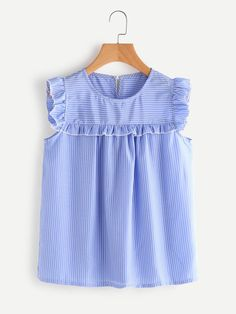 SheIn offers Frill Trim Pinstriped Top & more to fit your fashionable needs. Red Blouses, Blouses For Women, Chiffon Blouses, Baby Girl Fashion, Kids Fashion, Women's Fashion, Aya Couture, Fashion Clothes, Fashion Outfits