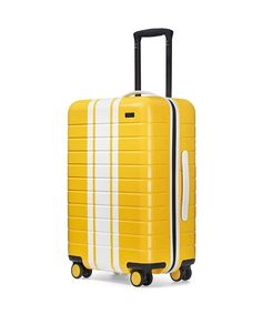 Shop The Bigger Carry-On premium hard shell suitcase built by Away with a removable TSA approved battery. Designer Travel Bags, College Necessities, Cute Suitcases, Carry On Suitcase, Cute Bags, Yellow, Big, Travel Stuff, Scorpio