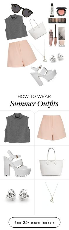 """My First Polyvore Outfit"" by stylecollor on Polyvore featuring Finders Keepers, Monki, Illesteva, Burberry, Torrid, H&M, Maybelline and Georgini"