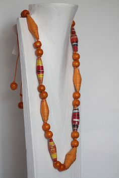Paper Bead Necklace by RecycleSister on Etsy