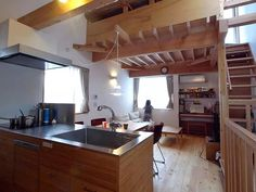 10坪の敷地の小さな家 Forest House, Kitchen Island, Loft, Warm, Interior, Projects, Furniture, Home Decor, Tiny Houses