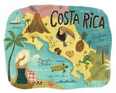 Your site for planning an unforgettable Costa Rica vacation! Table of ContentsUseful Costa Rica Travel TipsGood Planning Can Help You Save Money and TimeCosta [. Honduras, Country Maps, Costa Rica Travel, Travel Illustration, Travel Maps, Vintage Travel Posters, Central America, America Pride, Belle Photo