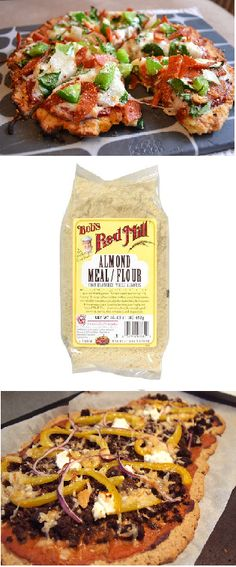 Gluten Free Almond Flour Pizza and Cheese Bread - Virtually carbohydrate free pizza crust - add it to a nice low fat cheese bread or create your own delic pizza! Sugar Free Recipes, Diabetic Recipes, Gluten Free Recipes, Low Carb Recipes, Real Food Recipes, Healthy Recipes, Paleo Pizza, Gluten Free Pizza, Gluten Free Cooking