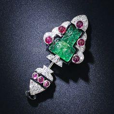 Original broche de Cartier. 1925. Plantino, esmeralda, rubis y brillantes.