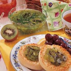 """Pineapple Kiwi Jam Recipe -Pineapple, kiwi and a hint of lime blend nicely in this unique combination from Sondra Rogers of Columbus, Indiana. """"It's especially good slathered on biscuits,"""" she comments."""