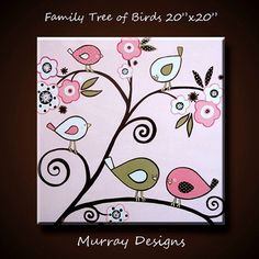 Kids Wall Art Family Tree of Pink Birds Large by MurrayDesignShop
