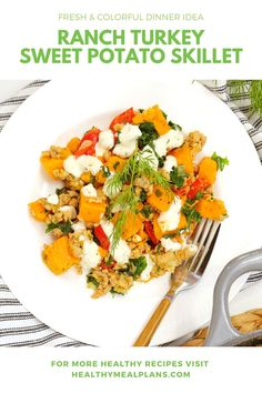 This sweet and savory one-dish dinner is absolutely irresistible. It starts with protein-packed ground turkey and fiber-rich sweet potatoes and then enhanced with just a drizzle of delicious ranch dressing. Domestic Geek, One Dish Dinners, Dinner Options, Recipe Details, Ranch Dressing, The Ranch, Ground Turkey, Skillet, Healthy Dinner Recipes