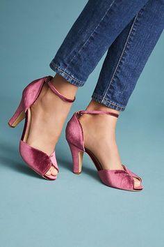 89d6a06a7f6302 Mauve Vintage Velvet Heels Shoes Heels Wedges