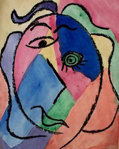 picasso portrait... this looks easy and cute... maybe even for MY kids to put in their rooms!