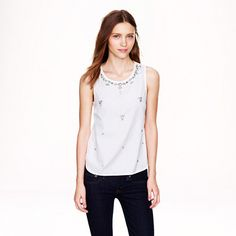 Jeweled cotton shell - sleeveless - Women's shirts & tops - J.Crew