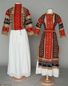Augusta Auctions, April 17, 2013 - NYC, Lot 136: Women's Regional Garments, Russia, C. 1900 All w/ bands of red & blue cotton covered w/ embroidery & multicolor lace trim: 1 young girl's blouse & apron & 1 woman's blouse, very good-excellent. BM