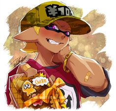 1boy arm_behind_head artist_name baseball_cap blonde_hair blush bracelet camouflage_hat dark_skin domino_mask emblem gift hat holding inkling isamu-ki_(yuuki) jewelry looking_at_viewer male_focus mask original pointy_ears portrait print_shirt red_shirt ribbon sharp_teeth shirt short_over_long_sleeves signature splatoon squid standing teeth tentacle_hair valentine violet_eyes yen_(isamu-ki) yen_sign