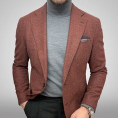 Stylish Men, Stylish Outfits, Cool Outfits, Mens Roll Neck, Blazer Outfits Men, Business Casual Men, Mens Fashion Suits, Men Style Tips, Gentleman Style