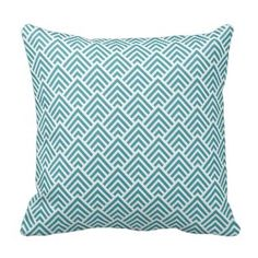 Teal Aqua Chevron Chic Geometric Pattern Elegant Pillows