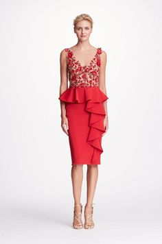 00f900fd28c2 MARCHESA NOTTE RED SLEEVELESS EMBROIDERED STRETCH FAILLE COCKTAIL DRESS.   marchesanotte  cloth   Poppy