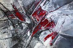 BURGSTALLER Abstraktes Kunst Bild Gemälde XXL abstrakt Grau Rot Wilde Malerei 2