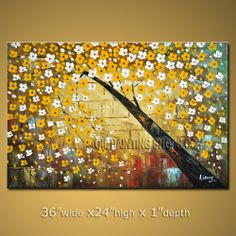 Stunning Original Impressionist Palette Knife Oil Painting On Canvas For Bed Room Lucky Tree. In Stock $185 from OilPaintingShops.com @Bo Yi Gallery/ ops2119