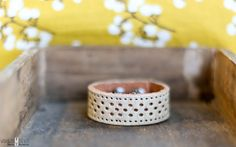 Distressed offwhite leather cuff with cutout by farmgirlpaints