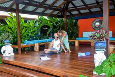 Learning how to give proper adjustments during the one month yoga teacher training immersion in Costa Rica at Blue Osa Yoga Retreat + Spa