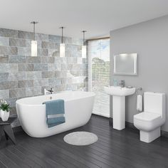Pro 600 Modern Free Standing Bath Suite The seriously stylish modern Pro 600 bathroom suite, features contemporary elegant styling with a smooth cool white finish. The close coupled toilet only…More Bathroom Suite, Modern Shower Design, Trendy Bathroom, Modern Bathroom Design, Amazing Bathrooms, Small Remodel, Bathroom Design Small, Free Standing Bath, Bathroom Design
