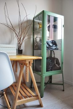 Anyone for a handbag display cabinet? | Stylish storage | FABRIKÖR | Mint green | Spotted on seaseight.blogspot.com