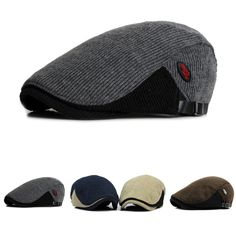 11.50 High-quality Men Woolen Knitted Beret Cap Adjustable Buckle Newsboy  Cabbie Hat - NewChic 5a3dc54ca58