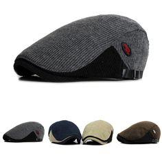 $11.50  High-quality Men Woolen Knitted Beret Cap Adjustable Buckle Newsboy Cabbie Hat - NewChic