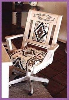 western home decor modern southwest decor Southwestern Chairs, Modern Southwest Decor, Southwestern Decorating, Modern Decor, Southwestern Style, Handmade Home Decor, Handmade Furniture, Painted Furniture, Diy Furniture