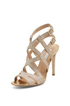 DVF Valene glitter strappy heel in gold