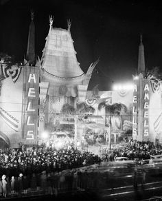 Grauman's Chinese Theater on Hollywood Boulevard during the movie premier of Hell's Angels.  Vintage Los Angeles photo.
