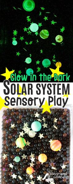 Let your little astronaut learn about the solar system through hands-on sensory play with this Glow in the Dark Space Sensory Bin! They can imagine they are an astronaut, exploring outer space, count and order the planets, create their own star formations or re-create constellations and more. Simple set up features water beads and glow in the dark stars and planets. Set yours up today for hours of deep space exploration! | Toddlers | Preschool | Elementary | Totschool | Sensory Play | Hands…