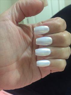 Pearl white nails, mermaid white nails
