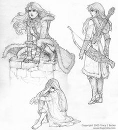 Tess, by tracyjb on deviantART. >> I really like the sketch of the character standing still with the quiver and bow. This artist is truly talented! Character Concept, Character Art, Concept Art, Character Portraits, Art Sketches, Art Drawings, Rangers Apprentice, Poses References, Illustration