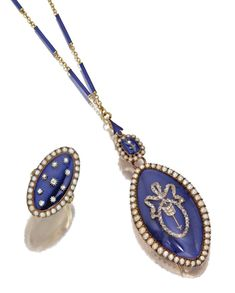 GOLD, ENAMEL, SEED PEARL & DIAMOND PENDANT-BROOCH/LOCKET &  RING, 19TH CENTURY.