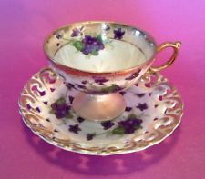 Pedestal Tea Cup And Reticulated Saucer - Champagne Luster With Violets - Japan