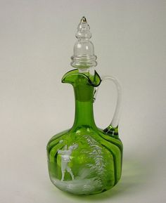 Glass Lovely Art Glass Super Nice Mary Gregory Decanter With Stopper Gray Color Decorative Arts