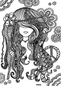 free printable adult coloring page female girl doodles woodstock gratis kleurplaat voor volwassenen - Free Colouring